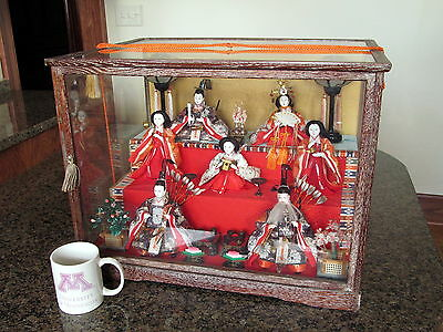 Vintage Japanese Hina Doll Set Doll Altar 7 Suwari Bina Dolls, Furnishings, etc.