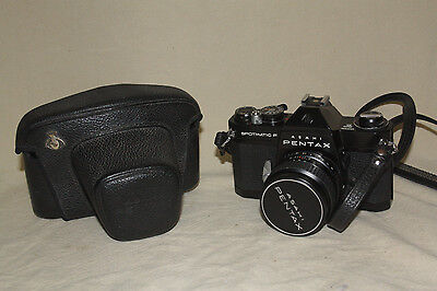ASAHI PENTAX BLACK SPOTMATIC F 35mm CAMERA WITH 55/1.8 + CASE + FILTER 7540