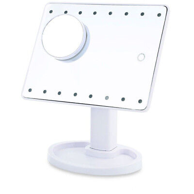 Magnifying Touch Screen 16 Led Light Vanity Make-Up Cosmetic Tabletop Mirror Wht