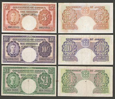 Jamaica 5, 10 Shillings and 1 Pound 1939-58 P37, 39, 41