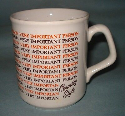VTG Country Style Donuts ADVERTISING COFFEE MUG TEA CUP ~ Very Important Person