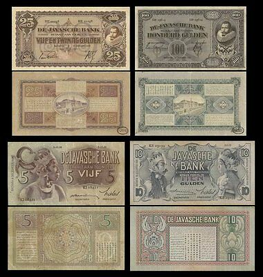 Nederland Indies 5-100 Gulden (4pcs) 1926-39