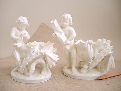 Pair Antique Moore Bros Porcelain Spill Vase Cherub Putti Blanc de Chine 19th C