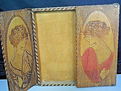 Antique c1900 Gibson Girl Themed Pyrography Double Door Handkerchief Box