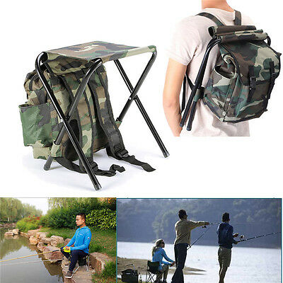 Foldable Fishing Chair Stool Travel Camping Multi-Function Backpack Bag M R L