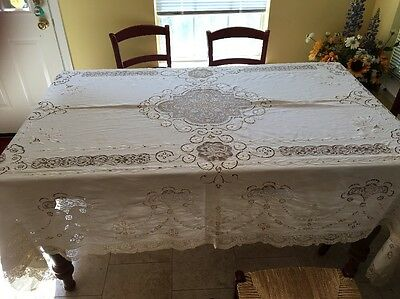"""NEW PRICE!!! Large Vintage Embroidered Cutwork & Lace Tablecloth 108"""" X 72"""""""