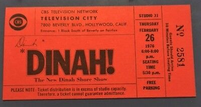 DINAH! THE NEW DINAH SHORE TV SHOW CBS Feb 1976 Vintage Complimentary Ticket