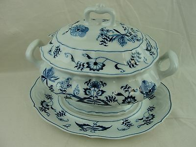 Blue Danube Oval Soup Serving Tureen with Lid and Underplate! Beautiful Pattern