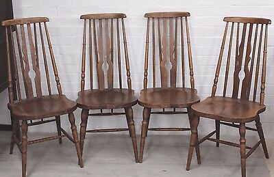 Set Of 4 High Spindle Back Quaker Style Mid Century Vintage Chairs All Orig Vgc
