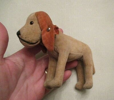 "Vintage Brown Stuffed Dog 5 1/2"" Long 4"" Tall-W Tag-Collar"