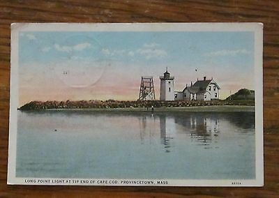 1928 Postcard Long Point Light at TIp End of Cape Cod, Provincetown MA