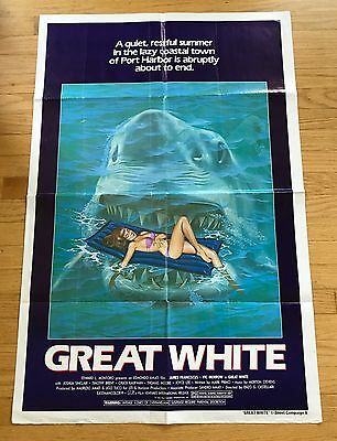 1981 GREAT WHITE aka THE LAST JAWS Original Horror One Sheet Movie Poster SHARK
