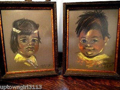 Native Indian Children 1968 Original OIL PASTEL PAINTINGS signed ADORABLE