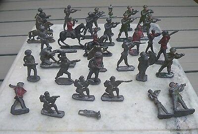 Collection 30 Primitive Antique Lead Toy Soldiers~Indians~Zulu Etc~Prop/display