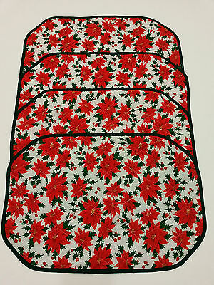 4 Quilted Christmas Table Placemats Poinsettias Pattern Reversible Holiday Decor
