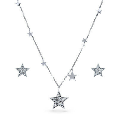 BERRICLE Sterling Silver CZ Star Fashion Necklace and Earrings Set