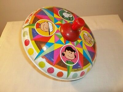 Vtg 1969 UNITED FEATURE SYNDICATE PEANUTS LARGE METAL CHEIN SPINNING TOP