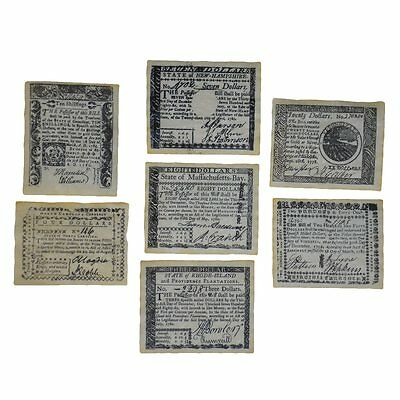 Colonial Era British Revolutionary War Currency Set 7 Paper Money Notes