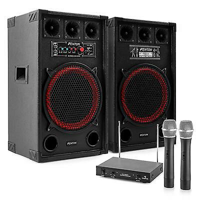 ACTIVE KARAOKE PARTY PA SYSTEM VHF 2x WIRELESS MIC SET DJ SPEAKER PAIR USB SD