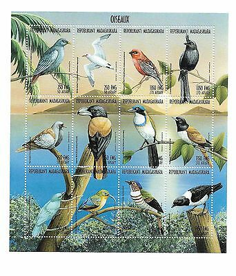 MADAGASCAR 1998 Sheet of 12 Bird Stamps MNH