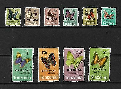 TANZANIA 1973 Butterflies Stamps Official set of 10 SG040/9 Used