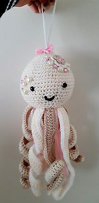 Crochet cream hanging octopus (Nursery or cot accessory)