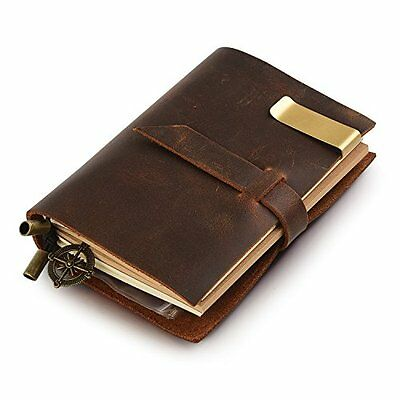 Genuine Leather Cover Notebook Travel Journal Diary Blank Paper Handmade Vint...