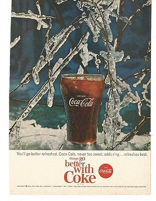 Vintage 1964 Magazine Print Ad Coca-Cola Coke Advertising Icy Branches VGD 5X7