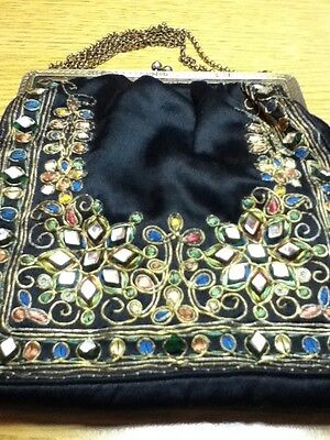 Vintage Black Silk Embroidered Purse Bag with Chain, Lined and Mirror