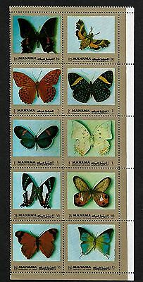 MANAMA 1972 Butterflies Gold Frame Sheet of 10 MNH