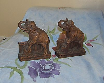 Vtg Syroco Elephant Bookends Good Shape!