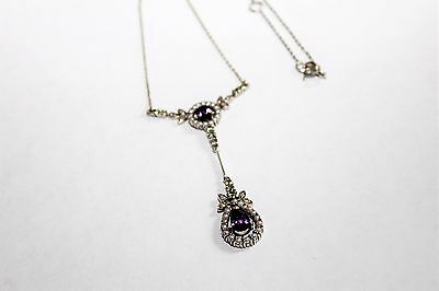 Vintage Sterling Silver, Seed Pearl, Amethyst &  Green Spinel Necklace & Pendant