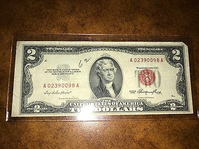 1953 Two Dollar Bill $2 Red Seal United States Paper Currency Note