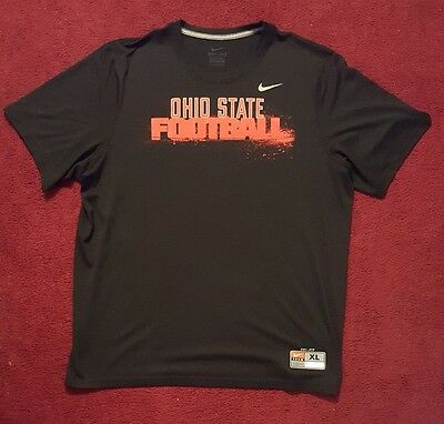 NIKE OHIO STATE FOOTBALL Dri Fit Athletic T-SHIRT Men's XL Extra Large Black Red