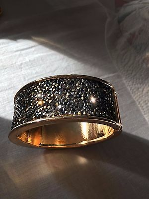 Glitter Crystal Mesh Cuff Bracelet, Black, Gold and Silver - Used, Excellent