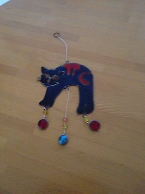 Hanging Stain Glass Cat