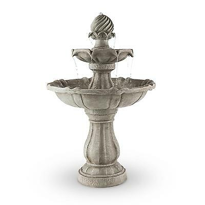 Outdoor Garden Modern Water Fountain Solar Powered With Concrete Stone Look 3 W