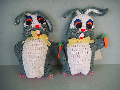 Vintage knitted rabbit / bunny candy covers