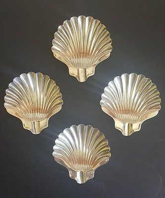 Set Of 4 Napier Sterling Silver Footed Shell Ashtrays