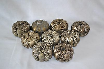 9 Small Melon Form Silver? or Metal Betel Boxes