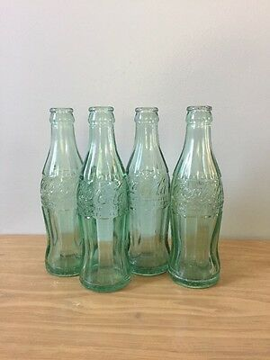 """Vintage Green Glass Coca Cola Soda Bottles 7.5"""" Various Locations"""