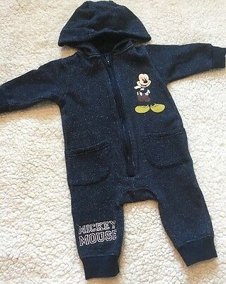 Baby Boys 3-6 Months Disney Mickey Mouse Baby Grow Sleep Suit Romper With Hood