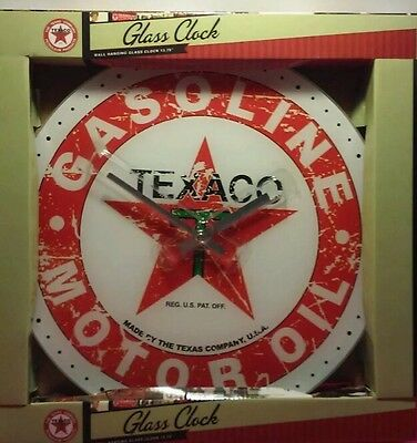 New VINTAGE STYLE WALL CLOCK TEXACO GASOLINE MOTOR OIL