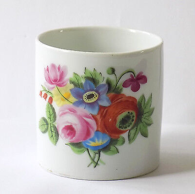 Antique Meissen Porcelain Mug Hand Painted With Flowers.cross Swords Mark