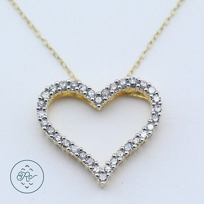 Sterling Silver & 18K Gold | DIAMOND Heart Cable Chain | Necklace