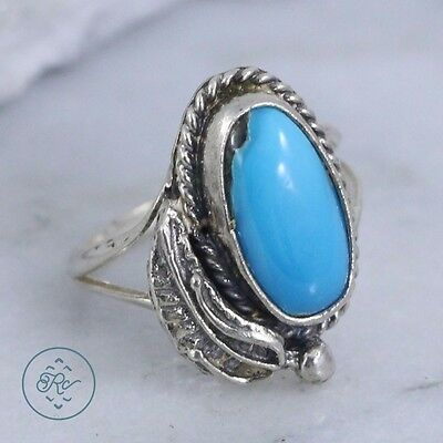 Vintage Sterling Silver | NAVAJO Braided Turquoise Leaf | Ring
