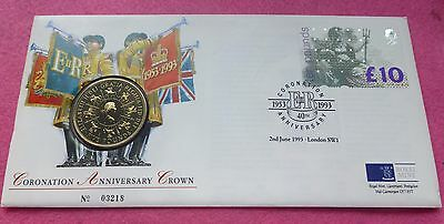 1993 Coronation 40Th Anniversary £5 Bu Coin And Stamp Cover Fdc Pnc