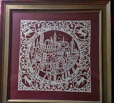 "Jacob Neeman ""Cutting out Judaica"" artwork in frame #22"