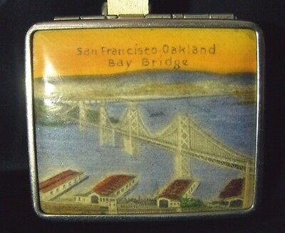Vintage San Francisco Oakland Bay Bridge Ladies Powder Rouge Compact