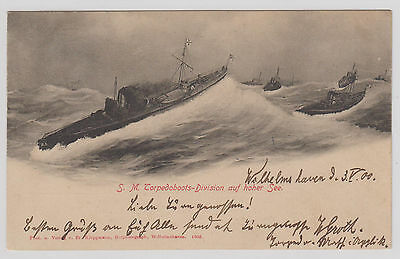 AK S. M. Topedoboots-Division auf hoher See 1900